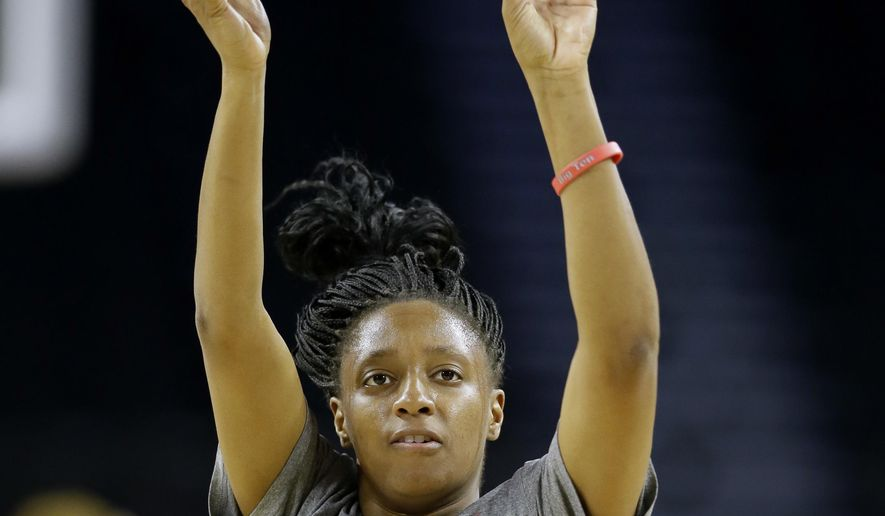 Ohio State guard Kelsey Mitchell shoots during practice ahead of a regional semifinal women's college basketball game in the NCAA Tournament, Thursday, March 24, 2016, in Sioux Falls, S.D. Ohio State will play Tennessee on Friday. (AP Photo/Charlie Neibergall)