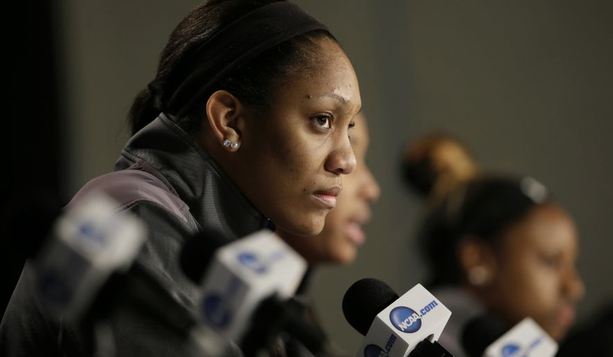 South Carolina forward A'ja Wilson speaks during a news conference ahead of a regional semifinal women's college basketball game in the NCAA Tournament, Thursday, March 24, 2016, in Sioux Falls, S.D. South Carolina will play Syracuse on Friday. (AP Photo/Charlie Neibergall)