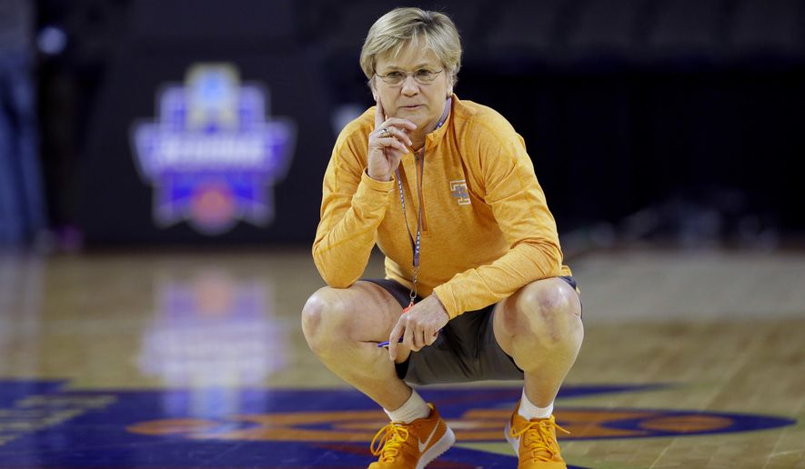 Tennessee head coach Holly Warlick watches her team during practice ahead of a regional semifinal women's college basketball game in the NCAA Tournament, Thursday, March 24, 2016, in Sioux Falls, S.D. Tennessee will play Ohio State on Friday. (AP Photo/Charlie Neibergall)