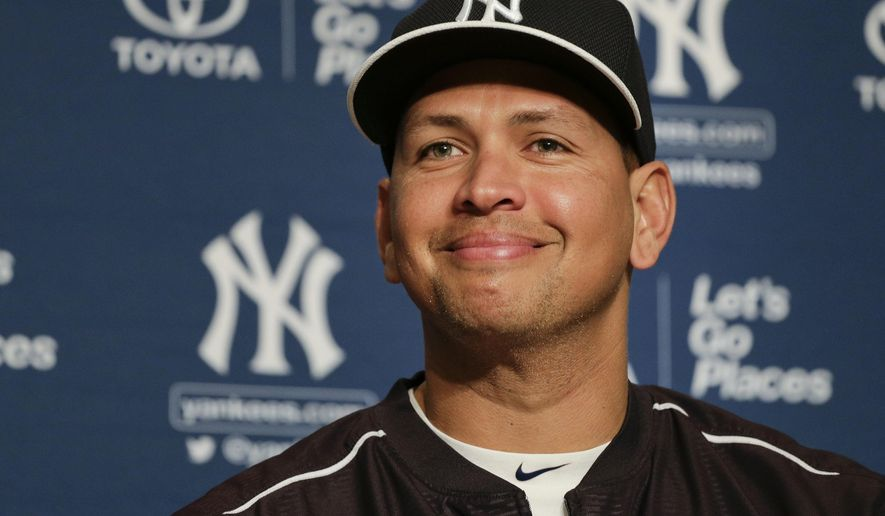 FILE - In this July 3, 2015, file photo, New York Yankees Alex Rodriguez answers questions during a news conference in which he was presented with the ball from his 3,000th career hit, in New York. Back from exile and a force in the Yankees' lineup at age 40, Alex Rodriguez is 75 home runs from tying Barry Bonds' career record. He has two seasons remaining in his contract with New York. (AP Photo/Julie Jacobson, File)