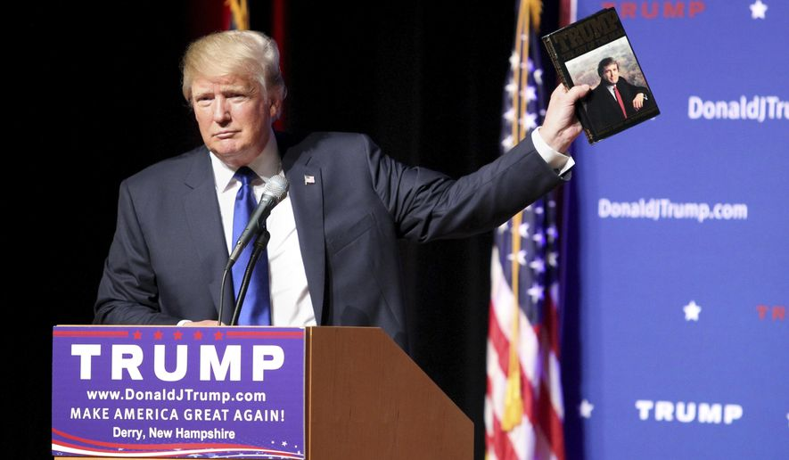 "FILE - In this Aug. 19, 2015 file photo, Republican presidential candidate Donald Trump holds up a copy of his 1987 book, ""Trump: The Art of the Deal"" during his campaign town hall event at Pinkerton Academy in Derry, N.H. Trump's first book was a memoir/manifesto dedicated to a life of big-time negotiating. Hillary Rodham Clinton debuted with a call for community involvement in raising the young with ""It Takes A Village: And Other Lessons Children Teach Us."" Trump agreed to a six-figure contract for ""The Art of the Deal."" For ""It Takes a Village,"" then-first lady Clinton accepted no advance and donated most of the royalties to charity. (AP Photo/Mary Schwalm, File)"