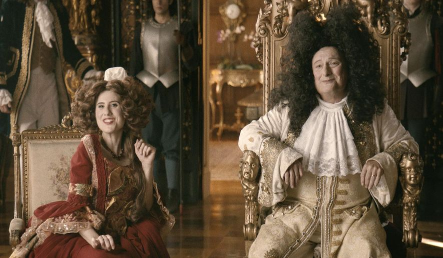 "In this undated image provided by the History Channel, Elizabeth Shapiro, left, and Wayne Knight perform in the ""King Louis XIV"" episode of the television production ""The Crossroads of History,"" scheduled to air on March 24, 2016. The new series chronicles the little-known back stories that played out behind some of the most significant developments in world history. (History Channel via AP)"