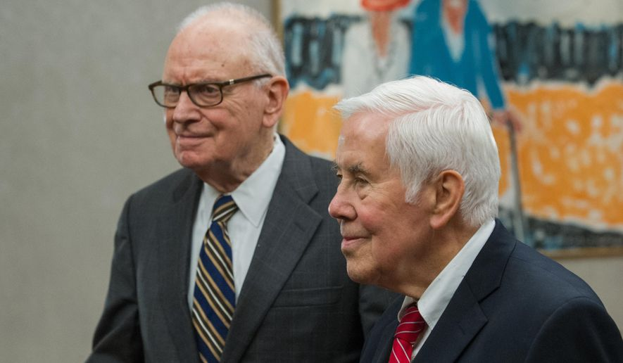 "Former Rep. Lee Hamilton , left, and former Sen. Richard Lugar  talk with reporters before speaking at ""Civility in American Politics"" program at the University of Southern Indiana in Evansville, Ind., on March 23, 2016. Both said they are saddened by deteriorating discourse. They noted the inability of Congress to complete what used to be considered basic tasks, such as passing a budget(Daniel R. Patmore/Evansville Courier & Press via AP) MANDATORY CREDIT"