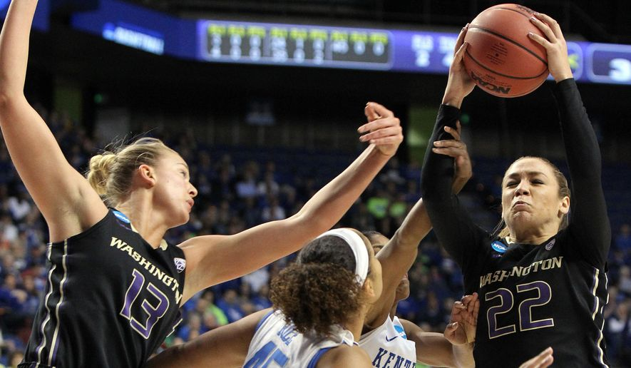 Washington's Alexus Atchley (22) shoots near Kentucky's Alyssa Rice, middle, and Washington's Katie Collier (13) during a third round women's college basketball game in the NCAA Tournament in Lexington, Ky., Friday, March 25, 2016. (AP Photo/James Crisp)