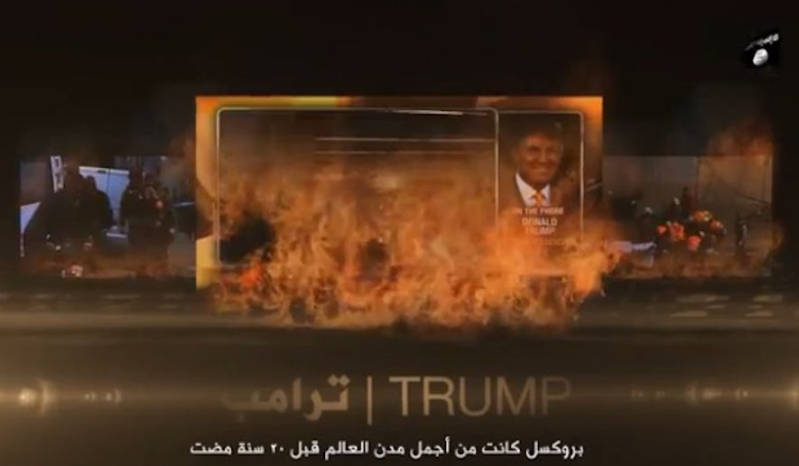 The Islamic State terrorist group has featured remarks made by GOP presidential front-runner Donald Trump in a video celebrating the deadly attacks this week in Brussels.