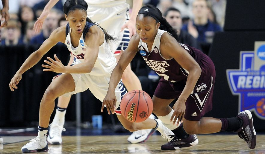 Connecticut's Moriah Jefferson, left, and Mississippi State's Morgan William chase a loose ball during the first half of an NCAA college basketball game in the regional semifinals of the women's NCAA Tournament, Saturday, March 26, 2016, in Bridgeport, Conn. (AP Photo/Jessica Hill)