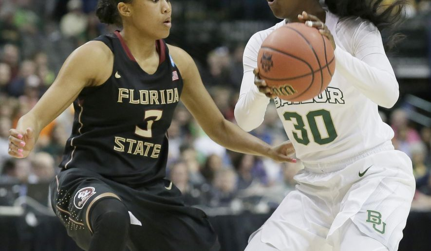 Baylor guard Alexis Jones (30) drives against Florida State guard Emiah Bingley (3) during the first half of an NCAA college basketball game in the regional semifinals of the women's NCAA Tournament Saturday, March 26, 2016, in Dallas. (AP Photo/LM Otero)