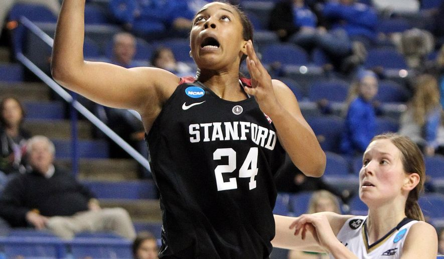 Stanford's Erica McCall (24) shoots in front of Notre Dame's Madison Cable (22) during a regional semifinal in the NCAA women's college basketball tournament in Lexington, Ky., Friday, March 25, 2016. Stanford won 90-84. (AP Photo/James Crisp)