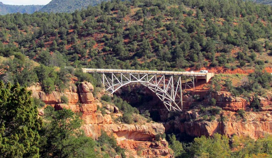 This undated photo shows Midgley Bridge in Sedona, Ariz. The bridge on the highway connecting Sedona and Flagstaff has been the focus of a suicide prevention and mental health awareness campaign.(AP Photo/Paul Davenport)