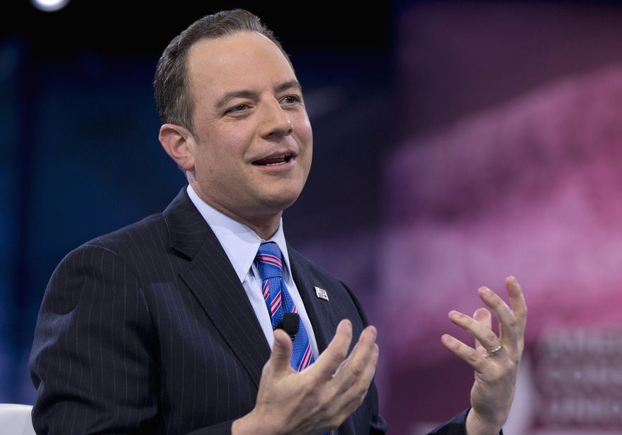 Republican National Committee Chairman Reince Priebus speaks at the Conservative Political Action Conference in National Harbor, Md., on March 4, 2016. (Associated Press) **FILE**