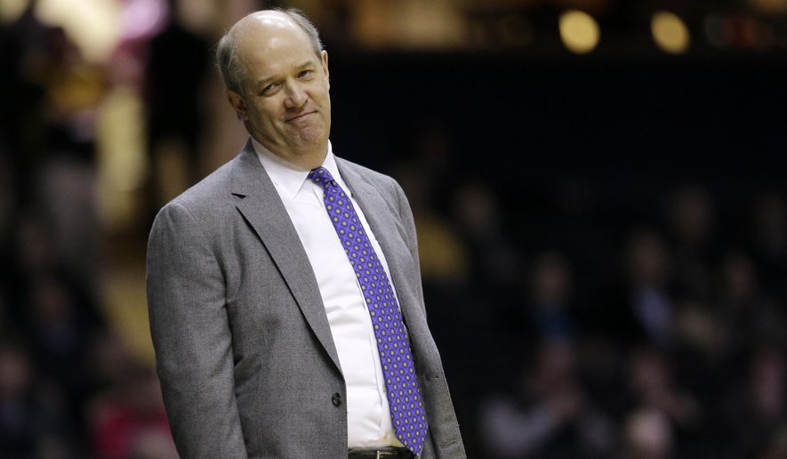 FILE - In this Jan. 26, 2016, file photo, Vanderbilt head coach Kevin Stallings watches from the sideline in the first half of an NCAA college basketball game against Florida in Nashville, Tenn. Pittsburgh hired Stallings away from Vanderbilt on Sunday, March 27, 2016, tasking him with rejuvenating a program that had stagnated during the final years under Jamie Dixon. (AP Photo/Mark Humphrey, File)