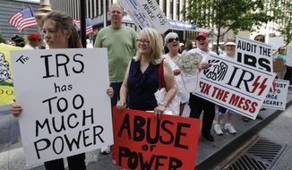 Tea party activists demonstrate on Fountain Square before marching to the John Weld Peck Federal Building in Cincinnati to protest the Internal Revenue Service's targeting of conservative groups seeking tax-exempt status on May 21, 2013. (Associated Press) **FILE**