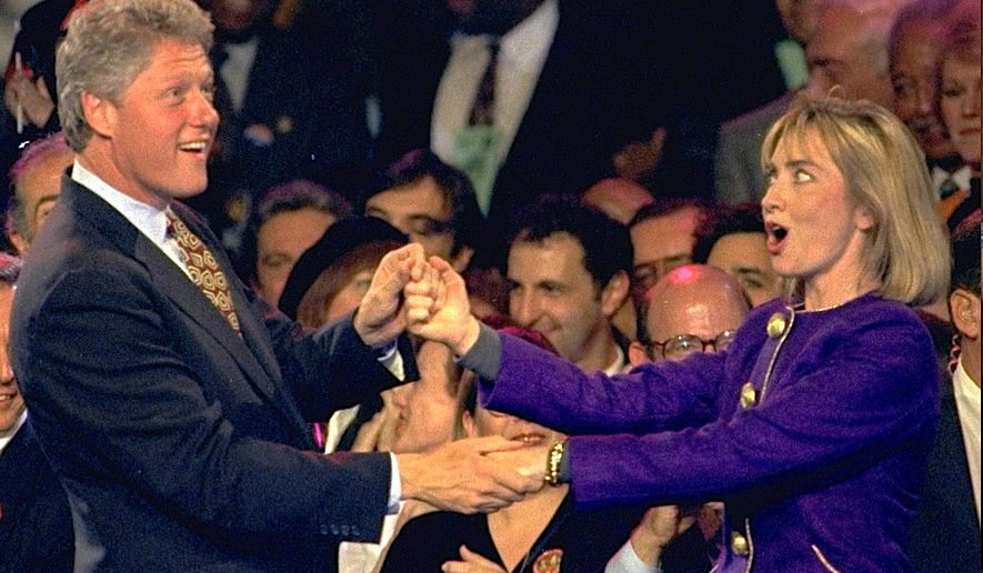 "Then Gov. Bill Clinton and wife Hillary dance to Fleetwood Mac's ""Don't Stop"" - their 1992 presidential campaign theme song - during a stop that year in New Jersey. (AP file photo)"