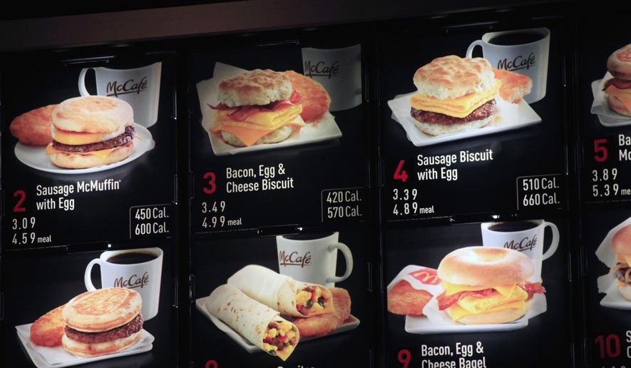 In this Sept. 12, 2012, file photo, items on the breakfast menu, including the calories, are posted at a McDonald's restaurant in New York. Wondering how many calories are in that hamburger? Chain restaurants still don't have to tell you, despite a 6-year-old law requiring calorie labels. (AP Photo/Mark Lennihan, File)