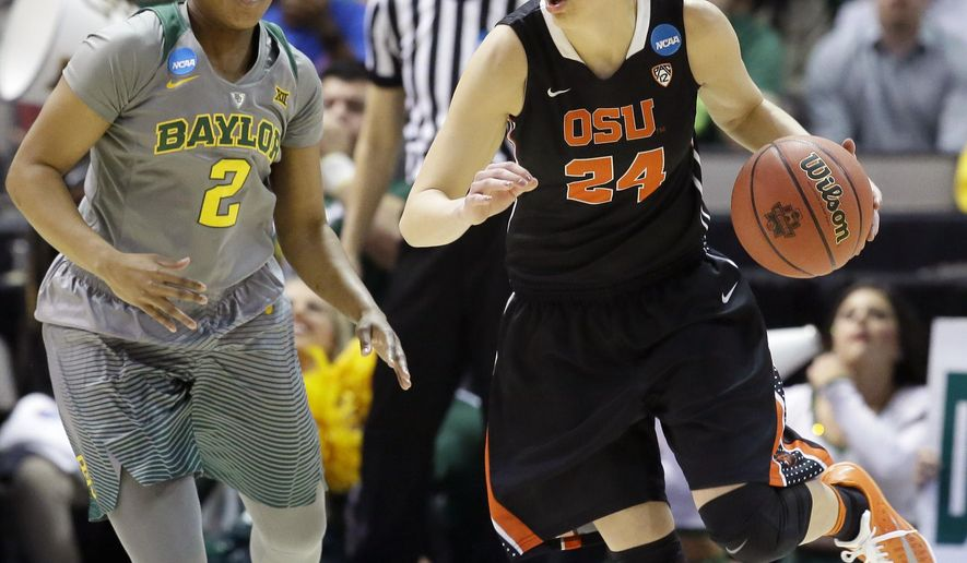 Oregon State guard Sydney Wiese (24) dribbles against Baylor guard Niya Johnson (2) during the first half of a regional final of the women's NCAA college basketball tournament, Monday, March 28, 2016, in Dallas. (AP Photo/LM Otero)