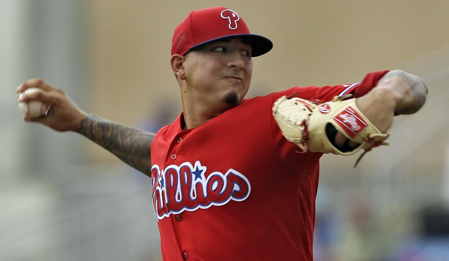 Philadelphia Phillies pitcher Vince Velasquez delivers to the Toronto Blue Jays during the first inning of a spring training baseball game Monday, March 28, 2016, in Dunedin, Fla. (AP Photo/Chris O'Meara)