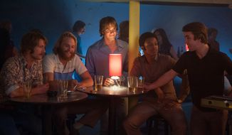"This image released by Paramount Pictures shows Glen Powell, Wyatt Russell, Blake Jenner, James Quinton Johnson  and Temple Baker in ""Everybody Wants Some."" (Van Redin/Paramount Pictures and Annapurna Pictures via AP)"