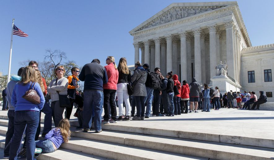 The Supreme Court split 4-4 in a case that considered whether public employees represented by a union can be required to pay fees covering collective bargaining costs even if they are not members. The deadlock leaves in place an appeals court ruling that upheld the practice. (Associated Press)