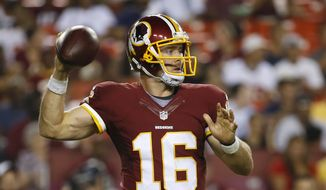 Washington Redskins quarterback Colt McCoy (16) passes the ball during the first half of an NFL preseason football game against the Jacksonville Jaguars in Landover, Md., Thursday, Sept. 3, 2015. (AP Photo/Alex Brandon)