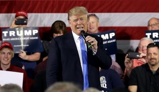 Republican presidential candidate Donald Trump speaks at a campaign stop, Tuesday, March 29, 2016, in Janesville, Wis. (AP Photo/Nam Y. Huh)