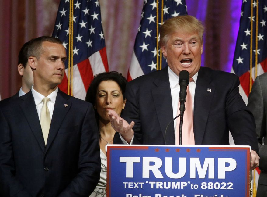 The Trump campaign didn't say why it made the change. Instead, it released a brief statement thanking Corey Lewandowski, who signed up early last year. (Associated Press)