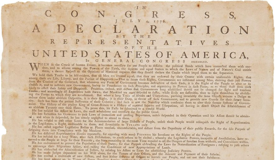 This undated photo provided by Heritage Auctions shows a 1776 broadside printing of the Declaration of Independence. The broadside printing, to be auctioned April 5 in New York, was ordered on July 17, 1776, by the Massachusetts Bay Council and read by the Rev. Levi Frisbie to his congregation in Ipswich, north of Boston. (Heritage Auctions via AP)