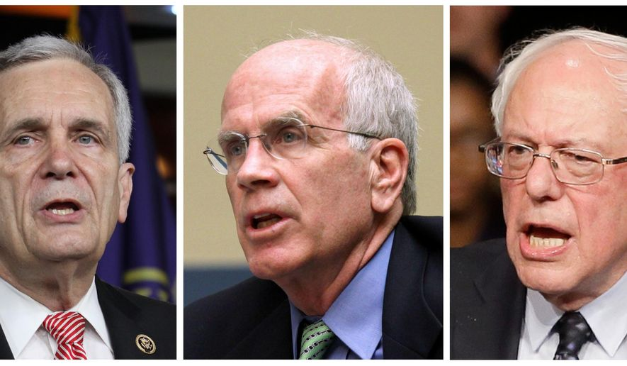 This combo of file photos shows, from left: U.S. Reps. Lloyd Doggett and Peter Welch, and Sen. Bernie Sanders. Pharmaceutical company Medivation is being targeted by lawmakers over drug pricing. Doggett, Welch and Sanders have urged the Department of Health and Human Services and the National Institutes of Health to step in to cut prices for the drug Xtandi, saying it costs four times more in the U.S. than it does outside the country. (AP Photo)