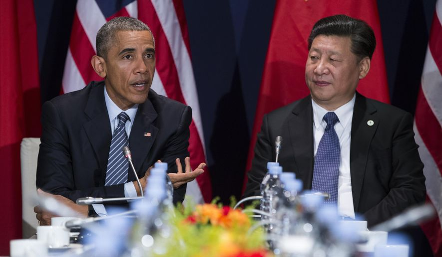 In this photo taken Nov. 30, 2015, President Barack Obama meets with Chinese President Xi Jinping in Le Bourget, France. President Barack Obama will be meeting with Asian leaders in Washington this week as fears grow that long-smoldering tensions on the Korean Peninsula and in the South China Sea could flare into conflict.  (AP Photo/Evan Vucci) **FILE**