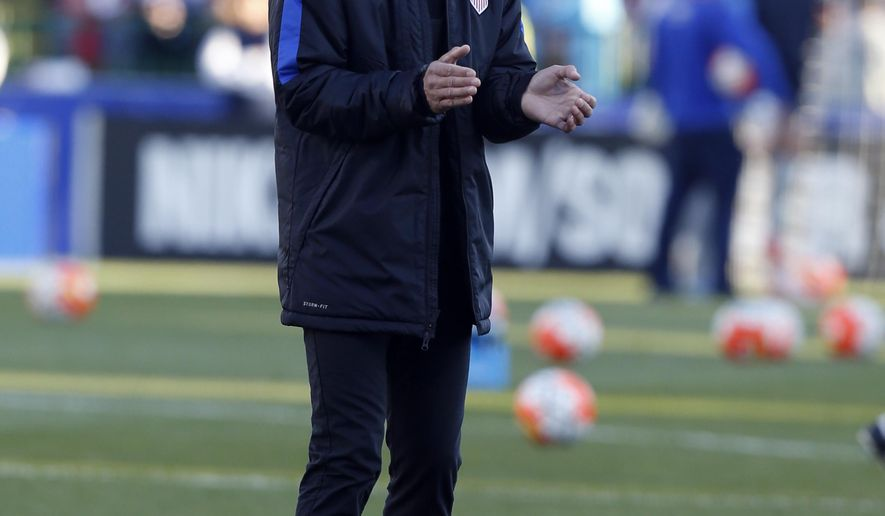 United States head coach Jurgen Klinsmann watches warm ups before the World Cup qualifying soccer match against Guatemala Tuesday, March 29, 2016, in Columbus, Ohio. (AP Photo/Jay LaPrete)