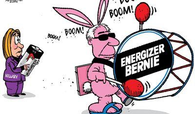 Energizer Bernie (Illustration by Walt Handelsman of The New Orleans Advocate)