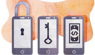 Apple Phone Encryption Debate Illustration by Greg Groesch/The Washington Times