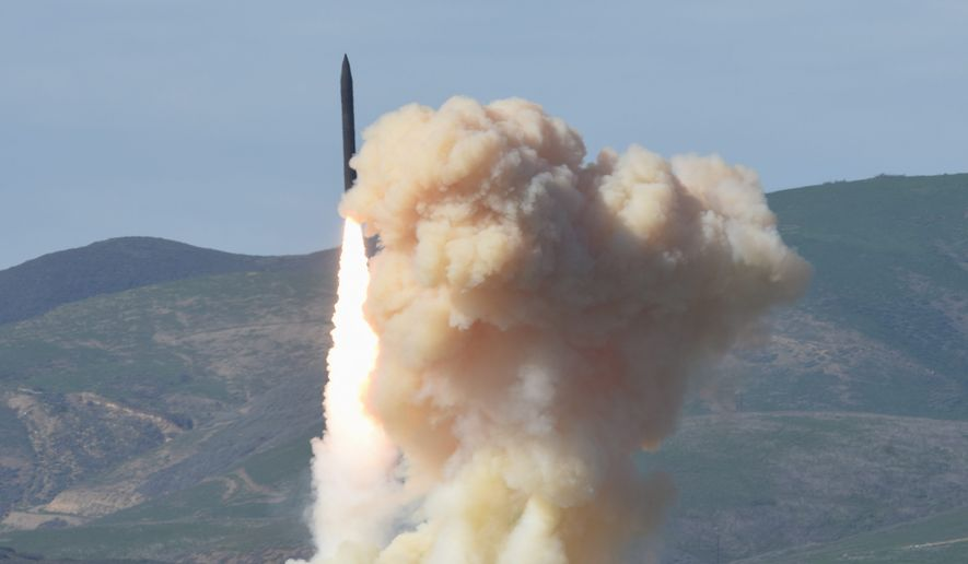 This photo provided by the Defense Department's Missile Defense Agency, taken Jan. 28, 2016, shows a long-range ground-based interceptor is launched from Vandenberg Air Force Base, Calif. As North Korea rattles its nuclear saber and threatens to bomb the U.S. at any moment, a nerve-jangling question hangs in the air: If North Korea did launch a nuclear-armed missile at an American city, could the Pentagon's missile defenses shoot it down beyond U.S. shores? (Defense Department's Missile Defense Agency via AP) ** FILE **