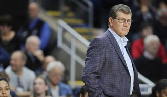 Connecticut head coach Geno Auriemma watches action during the second half of an NCAA college basketball game against Mississippi State in the regional semifinals of the women's NCAA Tournament, Saturday, March 26, 2016, in Bridgeport, Conn. (AP Photo/Jessica Hill)