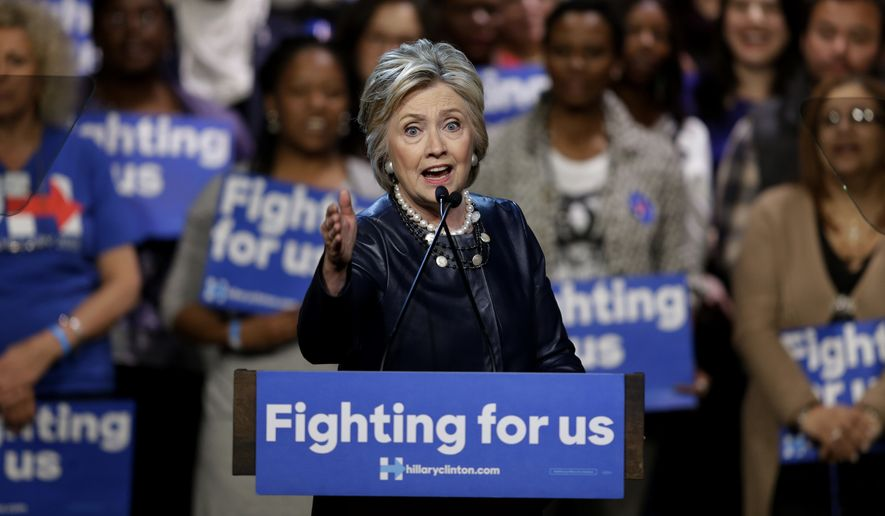 Democratic presidential candidate Hillary Clinton speaks during a rally at the Apollo Theater in New York, Wednesday, March 30, 2016. (AP Photo/Seth Wenig)