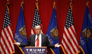 Republican presidential candidate Donald Trump speaks during a campaign event at St. Norbert College in De Pere, Wis., Wednesday, March 30, 2016. (AP Photo/Patrick Semansky)