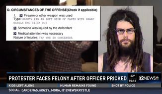 Jonathan McRae, a protester arrested Monday at the Arizona Capitol, was booked on a felony charge after an unlatched safety pin on his pants pricked a state trooper. (KPNX)
