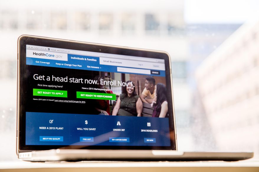 FILE - In this Oct. 6, 2015, file photo, the HealthCare.gov website, where people can buy health insurance, is displayed on a laptop screen in Washington.  (AP Photo/Andrew Harnik, File) **FILE**
