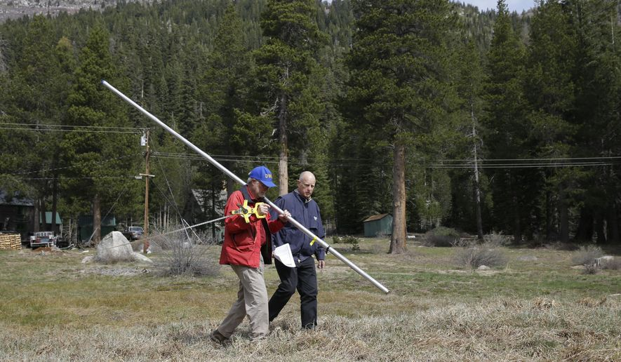 FILE - In this April 1, 2015, file photo, Frank Gehrke, chief of the California Cooperative Snow Surveys Program for the Department of Water Resources, left, and Gov. Jerry Brown walk across a dry meadow as Gehrke conducts the snow survey, near Echo Summit, Calif. A year later, state drought surveyors will trudge through deep snow Wednesday, March 30, 2016, to measure what could be close to a normal Sierra Nevada snowpack for this time of year.  (AP Photo/Rich Pedroncelli, File)
