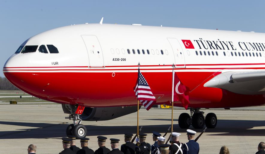 The plane with Turkish President Recep Tayyip Erdogan aboard arrives at Andrews Air Force Base, Md., Tuesday, March 29, 2016. Erdogan is in Washington to attend the Nuclear Security Summit. (AP Photo/Jose Luis Magana)