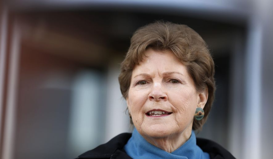 Democratic U.S. Sen. Jeanne Shaheen speaks to reporters outside the federal courthouse Wednesday March 30, 2016 in Concord, N.H. (AP Photo/Jim Cole)