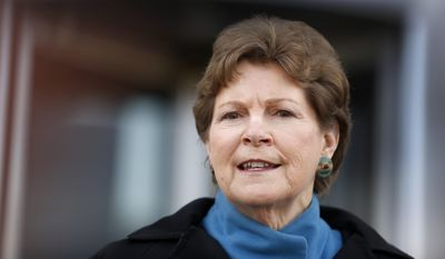 Democratic U.S. Sen. Jeanne Shaheen speaks to reporters outside the federal courthouse Wednesday March 30, 2016, in Concord, N.H. (AP Photo/Jim Cole) ** FILE **