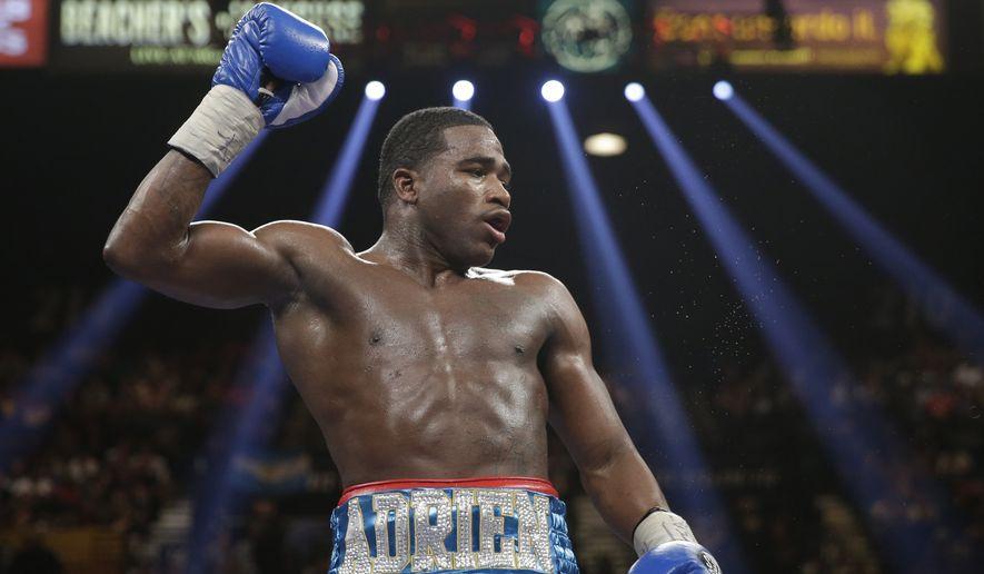 Adrien Broner is seen during his WBA super lightweight title boxing fight against Carlos Molina Saturday, May 3, 2014, in Las Vegas. (AP Photo/Isaac Brekken)