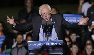 Democratic presidential candidate Sen. Bernie Sanders, I-Vt., speaks during a campaign rally at St. Mary's Park, Thursday, March 31, 2016, in the Bronx borough of New York. (AP Photo/Julie Jacobson)