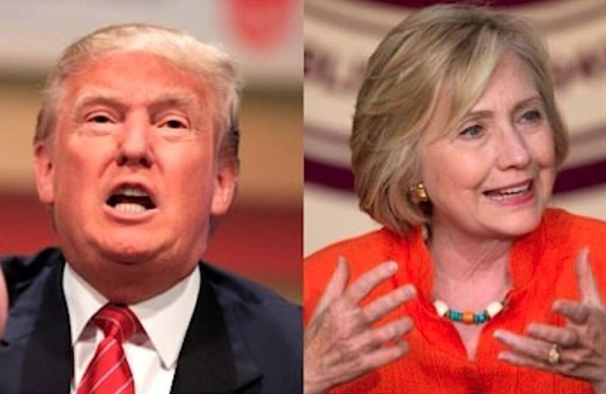 Businessman Donald Trump, the GOP front-runner, and former Secretary of State Hillary Clinton, the Democratic front-runner. (Associated Press photographs) ** FILE **
