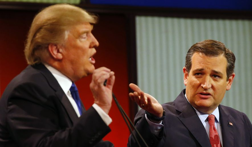 Republican presidential candidates, businessman Donald Trump and Sen. Ted Cruz, R-Texas, argue a point during a Republican presidential primary debate at Fox Theatre, Thursday, March 3, 2016, in Detroit. (AP Photo/Paul Sancya)