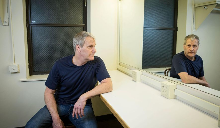 """In this March 25, 2016 photo, actor Jeff Daniels poses for a portrait backstage at the Belasco Theatre in New York.  Daniels stars with actress Michelle Williams in the play, """"Blackbird,"""" a provocative, often brutal drama about an illegal relationship. (Photo by Amy Sussman/Invision/AP)"""