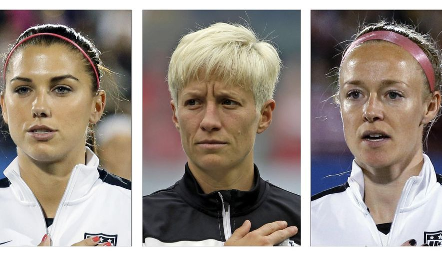 FILE - From left are file photos showing World Cup-winning national team women's soccer players Carli Lloyd, Alex Morgan, Megan Rapinoe, Becky Sauerbrunn and Hope Solo. All five have accused the U.S. Soccer Federation of wage discrimination in an action filed with the Equal Employment Opportunity Commission. They maintain in the EEOC filing they were payed nearly four times less than their male counterparts on the U.S. men's national team. The filing was announced in a press release on Thursday, March 31, 2016. (AP Photo/File)