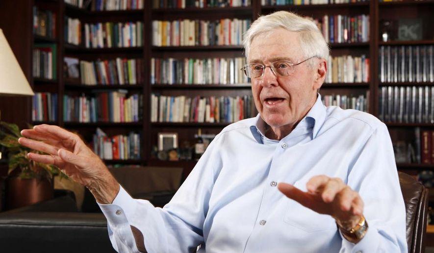 Charles Koch, CEO of Koch Industries, speaks in his office in Wichita, Kansas on May 22, 2012. (Bo Rader/The Wichita Eagle via AP) **FILE**
