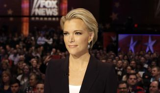 "In this Jan. 28, 2016 photo, Moderator Megyn Kelly waits for the start of the Republican presidential primary debate in Des Moines, Iowa.  Kelly, in an interview with Charlie Rose to air on CBS ""Sunday Morning"" on Sunday, April 3, said she wished colleague Bill O'Reilly  had done more to defend her when he interviewed Trump before a January debate that the Republican skipped because he wanted Kelly removed as a moderator. She also criticized CNN for airing portions of a Trump rally on the night of that same debate. (AP Photo/Chris Carlson)"