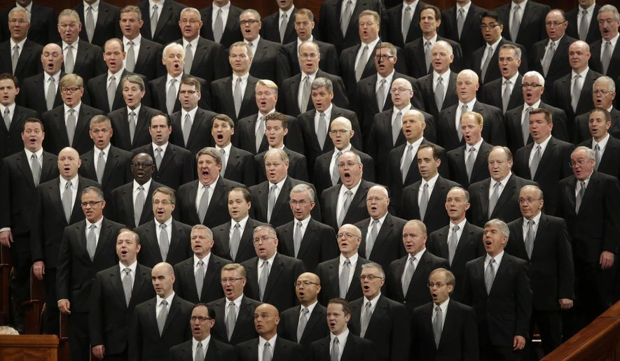 Mormon Tabernacle Choir performs during the opening session of the two-day Mormon church conference Saturday, April 2, 2016, in Salt Lake City. Mormon leaders are set to deliver guidance to their worldwide membership in a series of speeches this weekend during the religion's semiannual conference in Salt Lake City.  (AP Photo/Rick Bowmer)